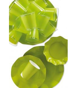 Piatti Piani di Carta a Petalo Verde Lime 24 cm