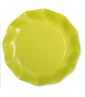Piatti Piani di Carta Compostabile a Petalo Verde Lime 21 cm