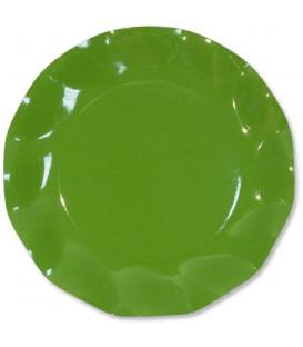 Piatti Piani di Carta a Petalo Verde Prato 24 cm