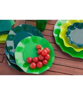 Piatti Piani di Carta a Petalo Verde Prato 32,4 cm