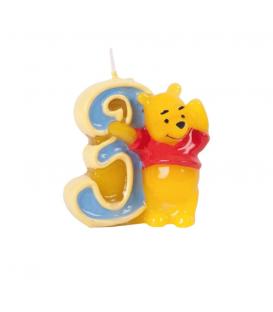 Candelina Numero 3 Winnie Pooh 6 cm 1 Pz