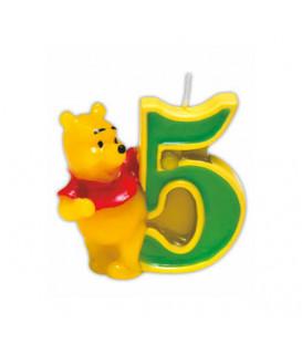 Candelina Numero 5 Winnie Pooh 6 cm 1 Pz