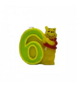 Candelina Numero 6 Winnie Pooh 6 cm 1 Pz