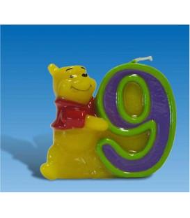 Candelina Numero 9 Winnie Pooh 6 cm 1 Pz