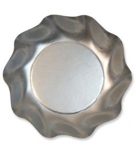 Piatti Fondi di Carta a Petalo Argento Metallizzato Satinato 18,5 cm