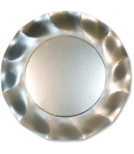 Piatti Piani di Carta a Petalo Argento Satinato Metallizzato
