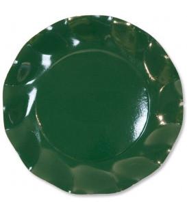 Piatti Piani di Carta a Petalo Verde Scuro 21 cm
