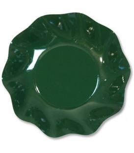 Piatti Fondi di Carta a Petalo Verde Scuro 24 cm