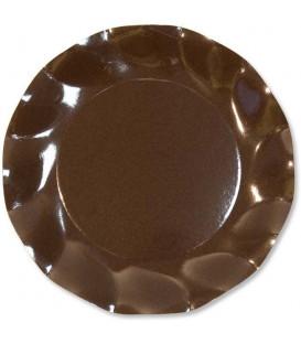 Piatti Piani di Carta a Petalo Marrone Cioccolato 24 cm