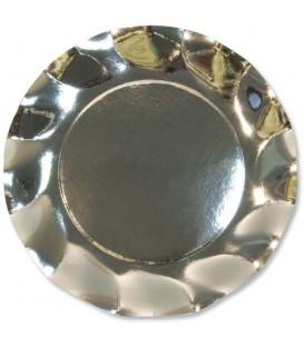 Piatti Piani di Carta a Petalo Argento Metallizzato Lucido 21 cm