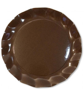 Piatti Piani di Carta a Petalo Marrone Cioccolato 32,4 cm