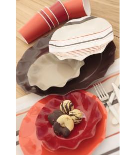 Piatti Piani di Carta a Petalo Marrone Cioccolato 27 cm