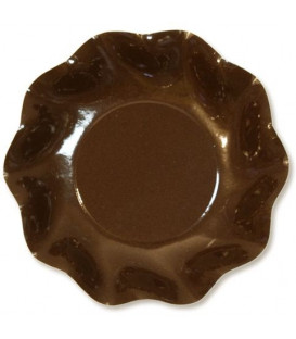 Piatti Fondi di Carta a Petalo Marrone Cioccolato 24 cm