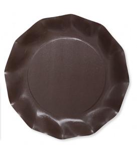 Piatti Piani di Carta Compostabile a Petalo Marrone cioccolato 27 cm