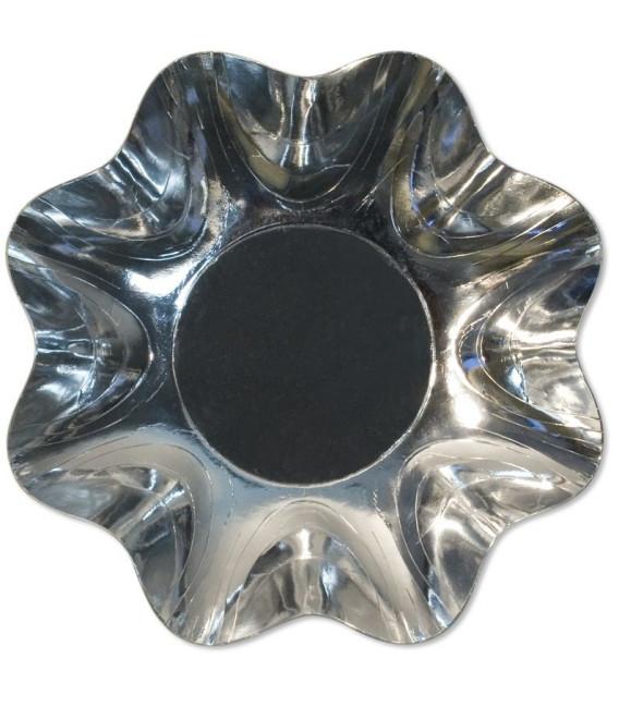 Zuppiera Grande di Carta a Petalo Argento Metallizzato