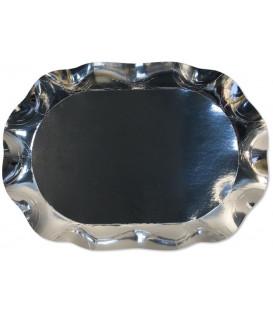 Vassoio Rettangolare di Carta a Petalo Argento Metallizzato 46 x 31 cm
