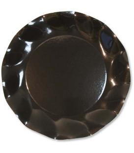 Piatti Piani di Carta a Petalo Nero 21 cm