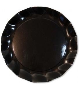 Piatti Piani di Carta a Petalo Nero 32,4 cm