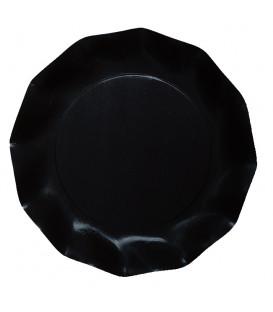 Piatti Piani di Carta Compostabile a Petalo Nero 21 cm