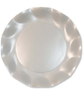 Piatti Piani di Carta a Petalo Bianco Perlato 24 cm
