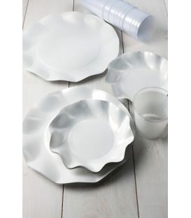 Piatti Piani di Carta a Petalo Bianco Perlato 21 cm