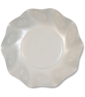 Piatti Fondi di Carta a Petalo Bianco Perlato 18,5 cm
