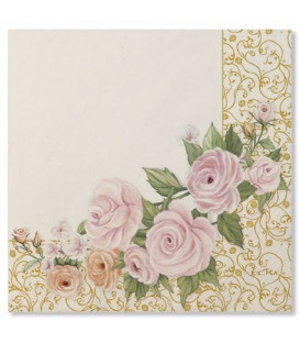 Tovaglioli 3 Veli Rose Flower 33x33 cm 3 confezioni