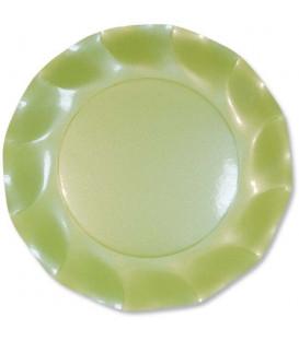 Piatti Piani di Carta a Petalo Verde chiaro Perlato 27 cm