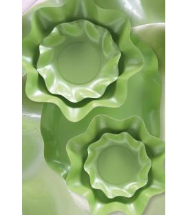 Piatti Piani di Carta a Petalo Verde chiaro Perlato 32,4 cm