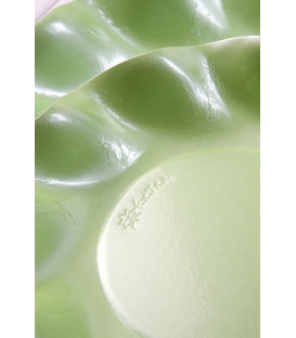 Piatti Fondi di Carta a Petalo Verde chiaro Perlato 18,5 cm