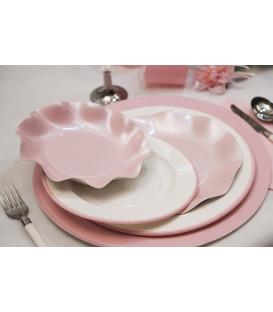Piatti Piani di Carta a Petalo Rosa Perlato 27 cm