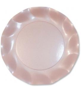 Piatti Piani di Carta a Petalo Rosa Perlato 21 cm