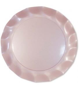 Piatti Piani di Carta a Petalo Rosa Perlato 32,4 cm