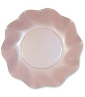 Piatti Fondi di Carta a Petalo Rosa Perlato 24 cm