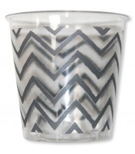 Bicchieri di Plastica Chevron Argento 300 cc