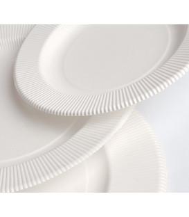 Piatti Piani di Carta Compostabile Opaco a Righe Avorio 21 cm