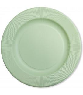 Piatti Piani di Carta Opaco a Righe Verde Salvia 32,4 cm