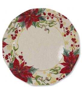 Piatti Piani di Carta a Petalo Natale Romantico 27 cm 2 Confezioni