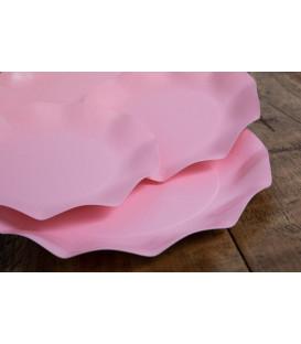 Piatti Piani di Carta Compostabile a Petalo Rosa quarzo 27 cm