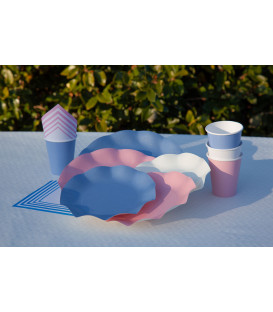 Piatti Piani di Carta Compostabile a Petalo Rosa quarzo 21 cm