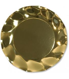 Piatti Piani di Carta a Petalo Oro Metallizzato Lucido 27 cm