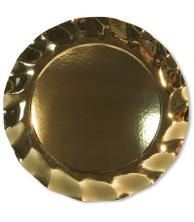 Piatti Piani di Carta a Petalo Oro Metallizzato Lucido 32,4 cm