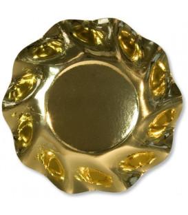 Piatti Fondi di Carta a Petalo Oro Metallizzato Lucido 24 cm