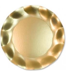 Piatti Piani di Carta a Petalo Oro Metallizzato Satinato 24 cm