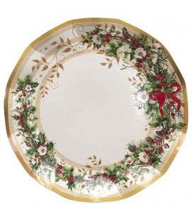 Piatti Piani di Carta a Petalo Ghirlanda di Natale