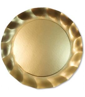 Piatti Piani di Carta a Petalo Oro Metallizzato Satinato 32,4 cm