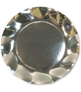 Piatti Piani di Carta a Petalo Argento Metallizzato Lucido 24 cm