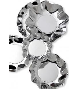 Piatti Piani di Carta a Petalo Argento Metallizzato Lucido 27 cm