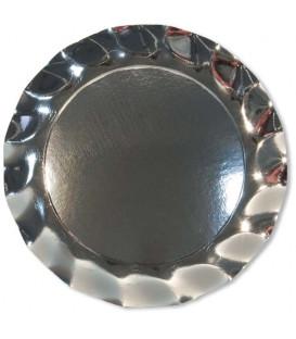 Piatti Piani di Carta a Petalo Argento Metallizzato Lucido 32,4 cm