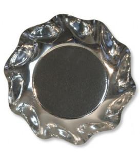 Piatti Fondi di Carta a Petalo Argento Metallizzato Lucido 24 cm